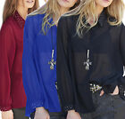 Size UK 10-30 Ladies Plus Size See Through Blouse Top Black Blue Red Long Sleeve
