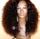 "12""-22"" Brazilian Kinky Curly 100% Remy Human Hair  Front Lace Wigs 150% density"