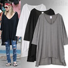 AnnaKastle New Womens Ladies Oversized Silky Cape Long Tee T shirt sz size M - L