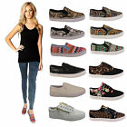 Ladies Plimsolls Womens Flats Slip On Trainers Girls School Pumps Shoes Sizes