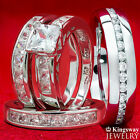4 pcs Womens STERLING SILVER & Mens STAINLESS STEEL Wedding rings Bridal set new