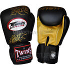 Twins Muay Thai Boxing Gloves Black Gold Dragon Leather (N) Kick Boxing