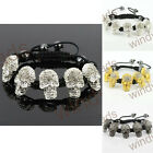 "Clear Rhinestone Skull Hematite Beads Braiding Adjustable Bracelet Bangle 7"" 1PC"