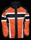 MEN'S MOTORCYCLE MOTORBIKE 100% NYLON RAIN SUIT GEAR BLACK ORANGE DURABLE NEW
