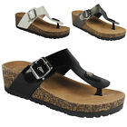 WOMENS LADIES GIRLS SLIP ON FLAT COMFY FLATFORMS WEDGE SHOES CORK SANDALS SIZE