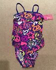 JOE BOXER,1 PIECE,NWT Girls Swim suit,Blue Hearts,Stars,PEACE,Multi COLOR/SZ, KM