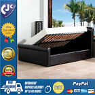 Modern Double King Size Bed Frame Faux Leather Bedstead Black Brown Gas Lift