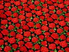 Roses Black Red 100% Cotton High Quality Fabric Material *3 Sizes*