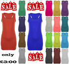 Ladies Womens Long Racer Back Bodycon Muscle Vest Top Gym Top 8-26