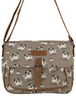 Ladies, Womens Girls Pug Dog Print Canvas Messenger Cross Body Satchel Bag