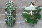 Whispy and Leaf Greenman Garden Wall Plaques Hand Cast & Painted PAGAN WICCAN