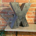 "Rustic Weathered Hand-Made Tin Letter X- 10"" Tall"