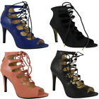 WOMENS LADIES ANKLE PEEPTOE LACE UPS HIGH STILETTO HEEL PARTY SHOES BOOTS HEELS