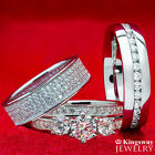 His & Hers 4 pcs Simulated Diamond Ring SILVER & STAINLESS STEEL Engagement Set