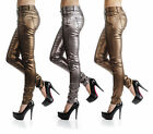Sexy New Women's Stretchy Jeans Trousers Skinny Slim Metalic Colours  H 336