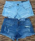 WISHFUL PARK WOMENS JUNIOR SIZES CUTOFF BLUE JEANS SHORT SHORTS LIST $30