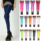 Women Neon Candy Shiny Soft Fluorescent Glow Stretch Leggings Pants 18 colors