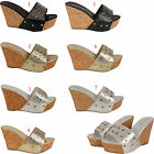 LADIES WOMENS PLATFORM CHUNKY WEDGE HIGH HEEL DIAMANTE SANDALS SHOES SIZE UK 3-8