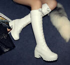 New fashion womens chunky heel platform lace-up Shoes Boots knee high boots