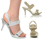 WOMENS LADIES HIGH HEEL DIAMANTE PROM PLATFORM WEDDING EVENING SANDALS SIZE