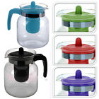 GLASS INFUSION TEAPOT DESIGN KITCHEN TEA LEAF BLUE GREEN PINK PURPLE BLACK