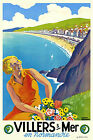 Vintage Art Deco French Travel Poster Villers sur Mer Normandy 1930s Retro Beach