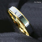 6mm Tungsten  Ring 18K Gold High polished Wedding Band Mens women Jewelry
