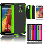 Hybrid Impact Rugged Rubber Matte Hard Case Cover For Motorola Moto G 2nd Gen
