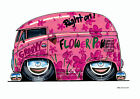 KOOLART CARTOON TEE SHIRT 1992 VW CAMPER VAN SPLITTY PINK VOLKSWAGEN NEWQUAY BUS