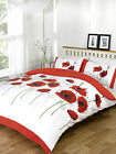 Red Poppy Meadow Duvet Set Single, Double or King. White With Red Poppies