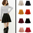 A Women Ladies Candy Color Stretch Waist Plain Skater Flared Pleated Mini Skirt