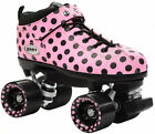 New Riedell Pink Polka Dot Dart Quad Roller Derby Speed Skates