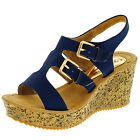 Heavenly Feet Tanya Wedge Sandals Denim Blue