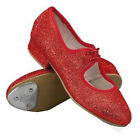 ROCH VALLEY RUBY RED SPARKLY DOROTHY TAP SHOES - GIRLS SIZES