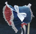 New Handmade Blue Denim with Red Gingham Lining  Baby Bonnet