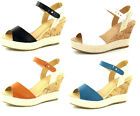 LADIES SYNTHETIC BUCKLE FASTENING WEDGE-SUMMER SANDALS SPOT ON F2228