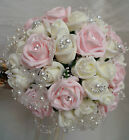 Wedding Posy Bouquet, Ivory/Pink Bling/Sparkle pearl & crystals Brides