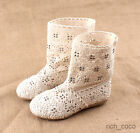 Girls Cream Stylish Bohemian Shoes Mesh Embellished Knitted Crochet Boots Summer