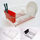 Large Dish Drainer, Dish Drying Rack with Cutlery Tray Black, Red, White - New