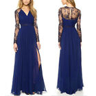 Sexy Women Long Evening Ball Chiffon Gown Bridesmaid Party Lace Maxi Boho Dress