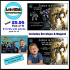 TRANSFORMERS PERSONALISED BIRTHDAY PARTY INVITATIONS - PACKS OF 10 & 15
