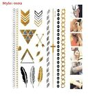 NEW TREND METALLIC GOLD SILVER TEMPORARY TATTOO PAPER SHEET PACK BRACELETS