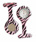 Nurse Watch Fob Brooch Clip Colourful Tunic Pin Quartz Animal Pattern Doctor GP