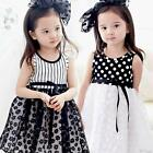 Summer Baby Girls dresses Kids girl striped Dot lace party sleeveless dress
