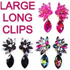 """3"""" Long Large Clips Colors Ballroom dance Dragqueen Showgirl Pageant Crystal"""