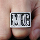 Men's Vintage Silver 316L Stainless Steel MC Initial Biker Ring Motorcycle Club