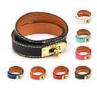 Women Genuine Leather Wrap Bracelet Twist Lock Cuff Fashion Bangle Gold Wristlet