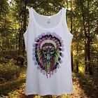 Indian Skull Top Womens Sleeveless Summer 2015 T Shirt native american tribe usa