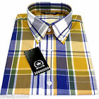 Relco Mens Mustard Blue Tartan Check Short Sleeved Shirt Mod Skin Retro Indie