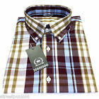 Relco Mens Burgundy Sky Tartan Check Short Sleeved Shirt Mod Skin Retro Indie